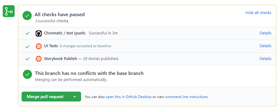 Chromatic changes accepted on the GitHub PR check