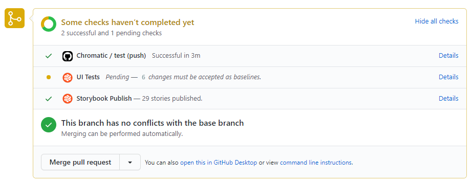 Chromatic changes on the GitHub PR check