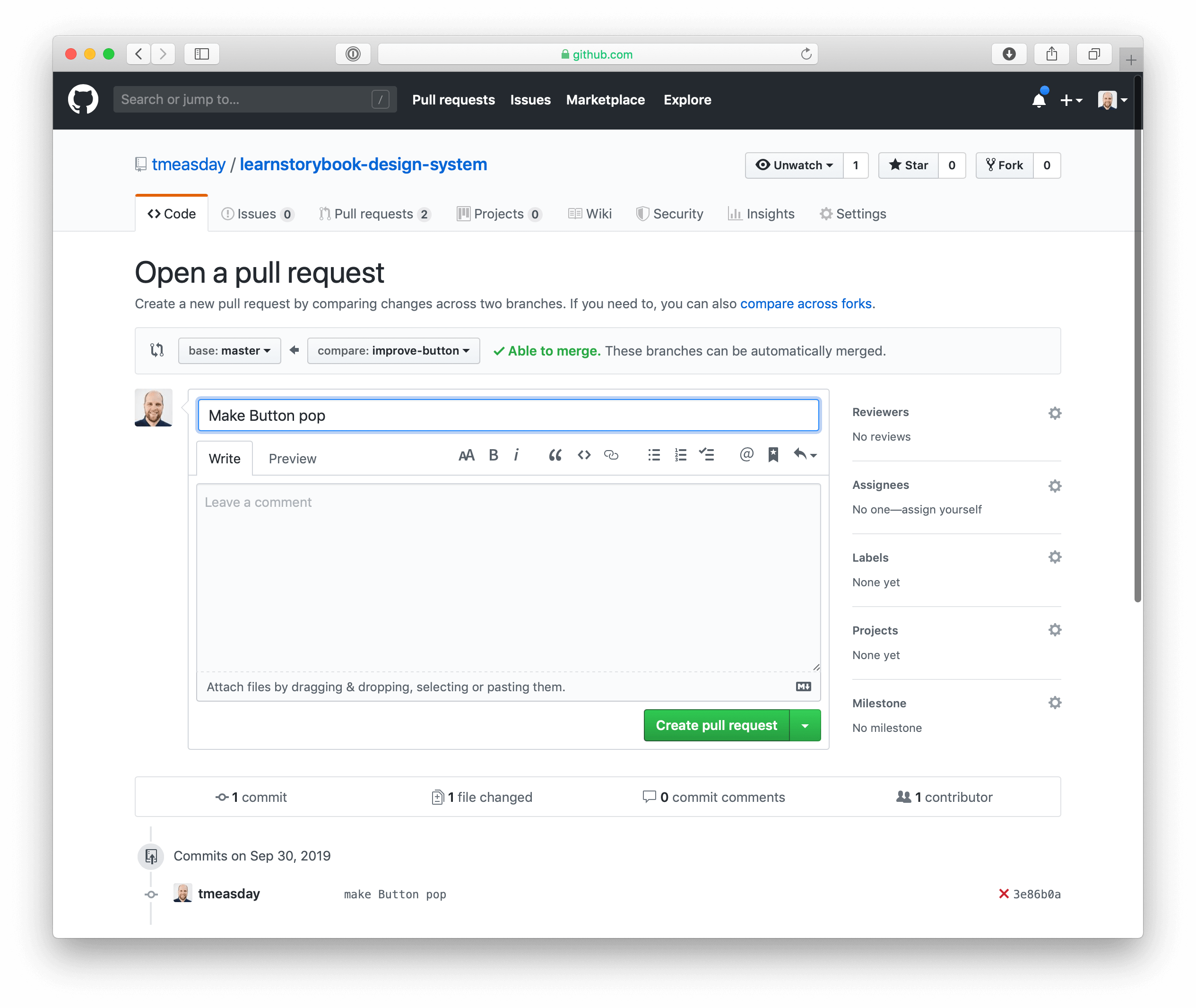 Creating a PR in GitHub