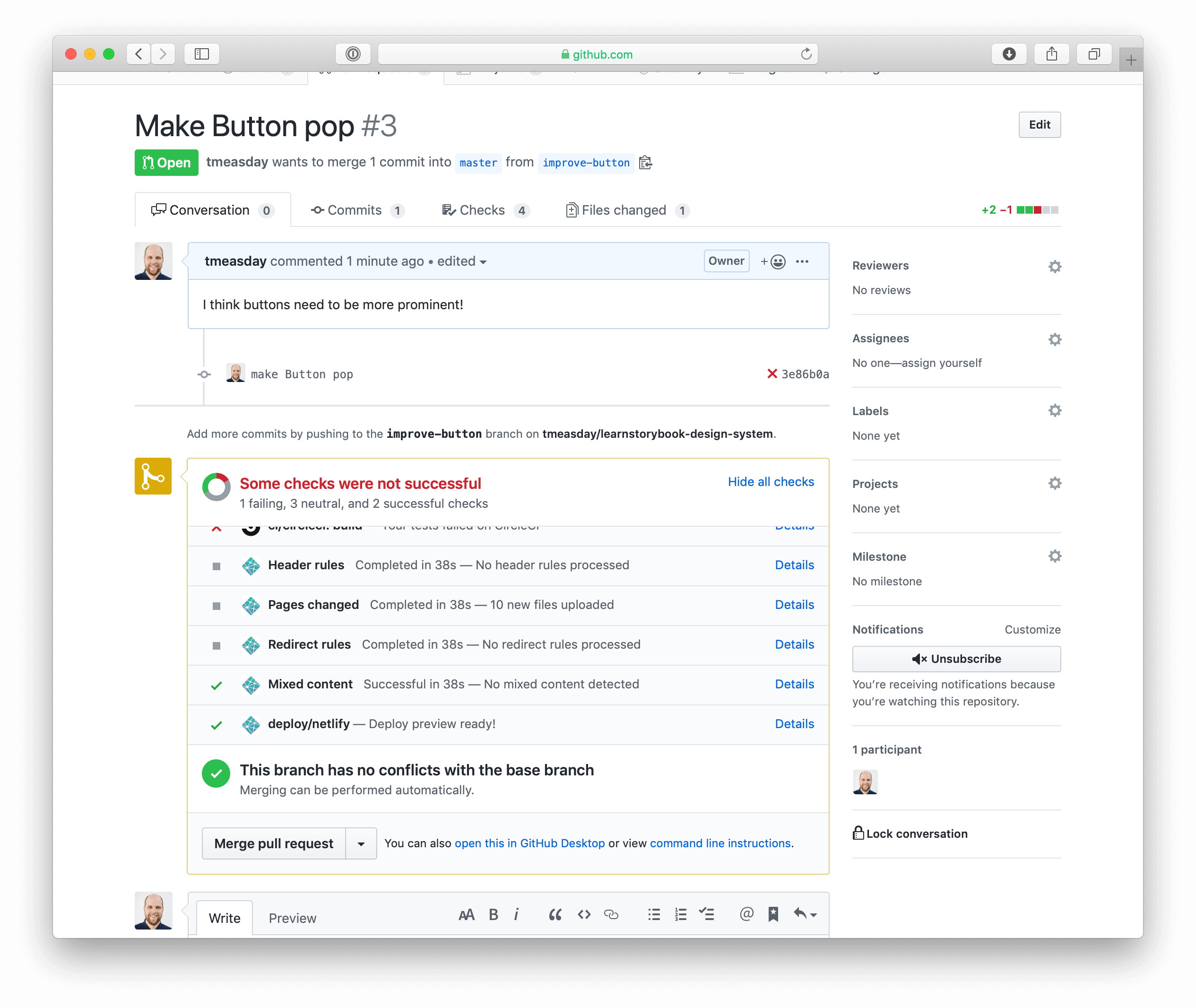 Created a PR in GitHub