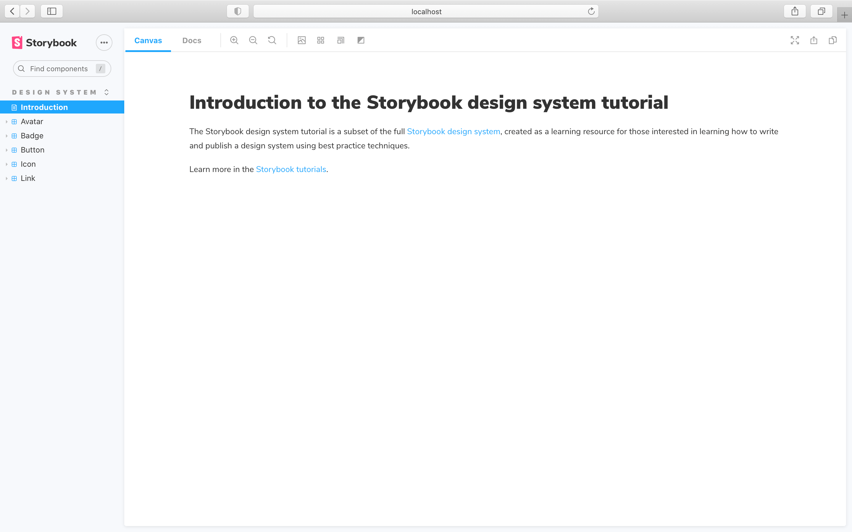 Storybook docs with introduction page