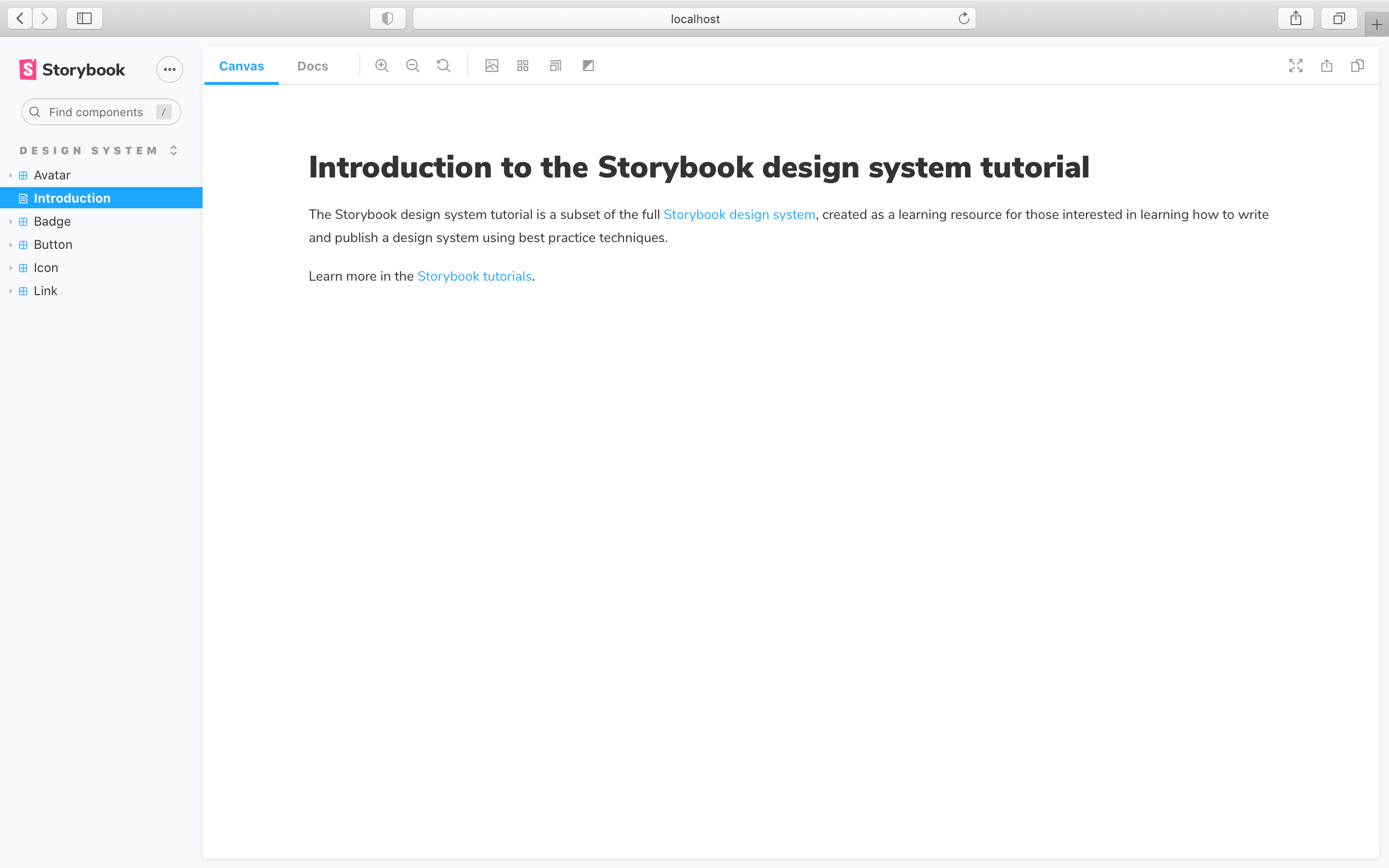 Storybook docs with introduction page, unsorted
