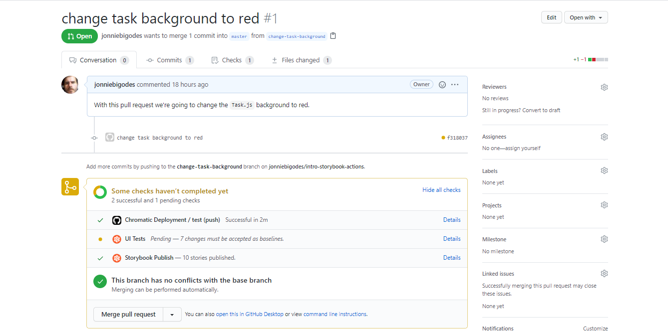 Created a PR in GitHub for task