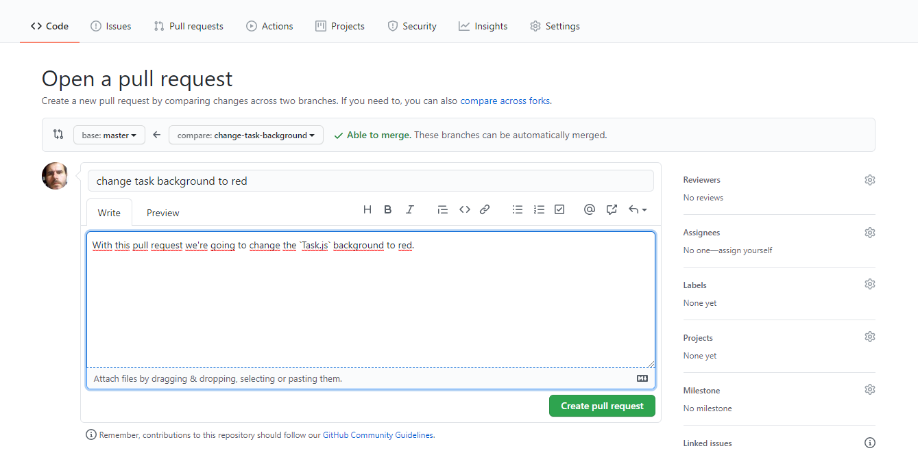 Creating a PR in GitHub for task